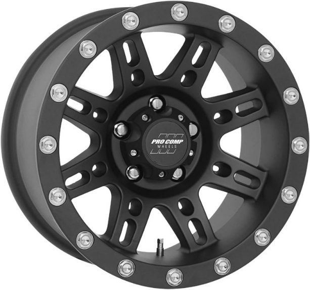 Pro Comp Series 31 Stryker on Matte Black Finish.  It is made of Aluminum for lighter weight.