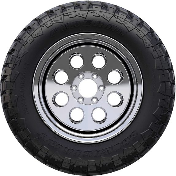 Shown are the profiles of the Federal Couragia M/T All-Season Tires. They are shown shod on black and silver wheels for comparison purposes.